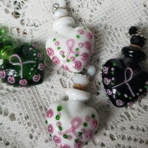 Four delicate bottles. Glass with cork stopper